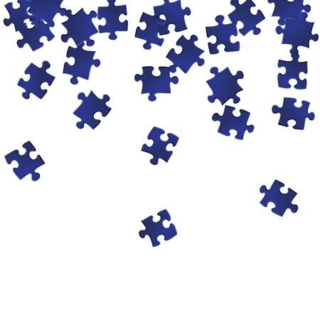 Business teaser jigsaw puzzle dark blue pieces vector background. Group of puzzle pieces isolated on white. Cooperation abstract concept. Game and play symbols.