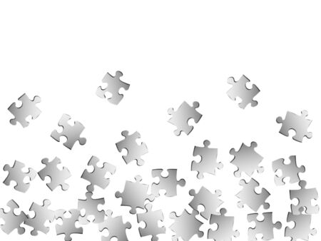 Abstract brainteaser jigsaw puzzle metallic silver parts vector illustration. Top view of puzzle pieces isolated on white. Problem solving abstract concept. Connection elements.