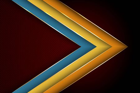 Polygonal arrow with gold triangle edge lines banner vector design. Chic poster background template. Trendy tech vector graphics. Multi layers paper cut material design. Banque d'images - 130678329