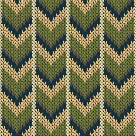 Closeup downward arrow lines knitting texture geometric vector seamless. Rug stockinet ornament. Classic warm seamless knitted pattern. Fabric canvas illustration.