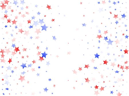 American Memorial Day stars background. Confetti in USA flag colors for Independence Day. Trendy red blue white stars on white American patriotic vector. 4th of July stardust confetti.