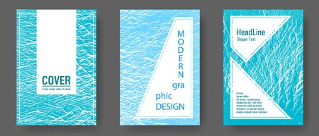 Booklet design vector layouts set. Blue sea water waves texture backdrops. Buzzing rippling motion background texture. Cool booklet vector cover templates design. Branding profile cover samples. Stock Illustratie