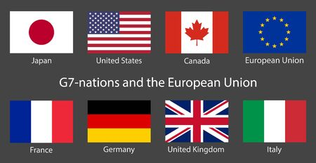 G7 summit flags Isolated icons with European Union. Group of Seven vector flags with every country organization member symbol. Great world leaders G7-nations Group of Seven economic organization flags Çizim