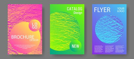 Flyer poster vector graphic design set. Pink blue green rainbow waves textures. Geometric creative solutions. Modern poster, cover or flyer templates. Buzzing flux ripple movement background. Ilustração