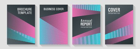 Geometric shapes line texture templates. Marketing brochure covers design set. School presentation elegant leaflets. Colorful halftone gradients for web. Sale catalog vivid mockups.