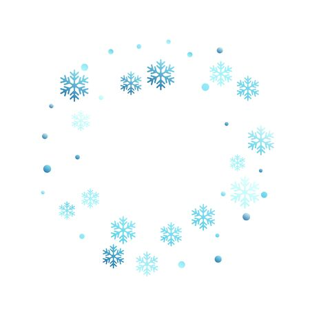 Winter snowflakes and circles border vector backdrop. Unusual gradient snow flakes isolated poster background. New Year 2019 card border pattern template with trendy snowflake elements isolated.