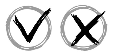 Tick cross vector check marks icons. Done checklist symbols scribble design. Abstract yes and no checkmarks. Poll quiz question labels, vote stickers. Accept and decline signs isolated.