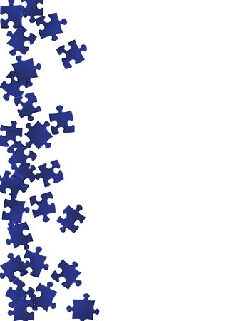 Abstract teaser jigsaw puzzle dark blue pieces vector background. Scatter of puzzle pieces isolated on white. Cooperation abstract concept. Connection elements.