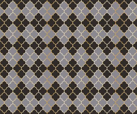 Ottoman Mosque Vector Seamless Pattern. Argyle rhombus muslim fabric background. Traditional mosque pattern with gold grid. Cool islamic argyle seamless design of lantern lattice shape tiles.