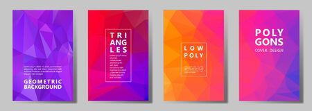 Facet triangles mosaic banners, posters, flyers vector graphic design set. Crystal texture low poly patterns. Gradient triangle polygons facet geometric abstract backgrounds in red violet pink purple Ilustração