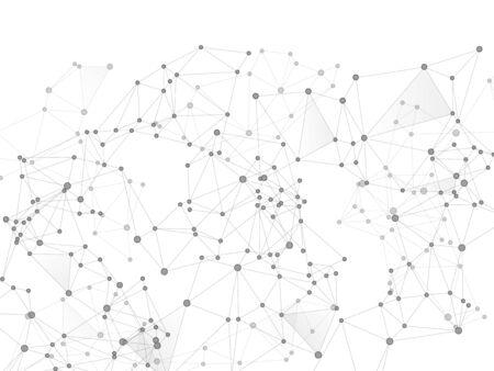 Social media communication digital concept. Network nodes greyscale plexus background. Wireframe minimal design. Dots nodes points lines particles. Global social media network space vector. Ilustração