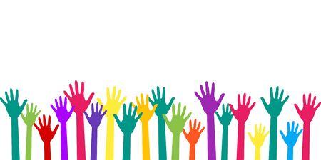 Colorate mani alzate gruppo arte terapia illustrazione vettoriale. Le mani in vernice dei colori dell'arcobaleno hanno sollevato simboli di arte, festa, gioia e divertimento, amicizia o terapia di gruppo. Molti bambini si armano insieme. Vettoriali