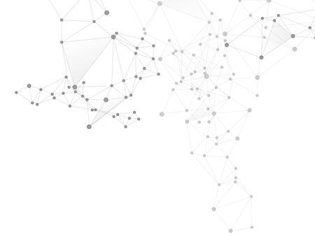 Geometric plexus structure cybernetic concept. Network nodes greyscale plexus background. Interlinkes nodes cells random grid. Coordinates structure grid shape vector. Information technology design.