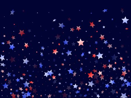 American Patriot Day stars background. Holiday confetti in US flag colors for President Day.  Navy red blue white stars on dark American patriotic vector. July 4th stardust elements.