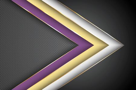 Polygonal arrow with gold triangle edge lines banner vector design. Glossy business background template. Trendy tech vector graphics. Poly gradient shapes with metallic glossy edge lines. Banque d'images - 131277792