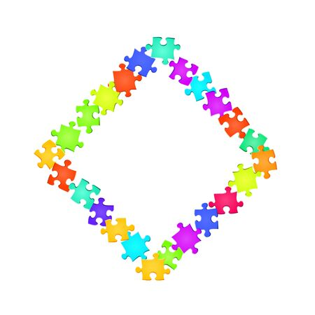 Game conundrum jigsaw puzzle rainbow colors parts vector illustration. Scatter of puzzle pieces isolated on white. Cooperation abstract concept. Jigsaw pieces clip art.
