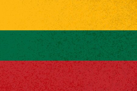 Lithuanian flag with red green yellow stripes. Vector Lithuanian flag illustration with cool grunge texture. Vector flag of tricolor stripes in official colors with grunge texture. Ilustrace