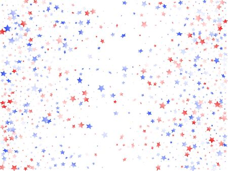 American Presidents Day stars background. Holiday confetti in US flag colors for President Day.  Gradient red blue white stars on white American patriotic vector. Fourth of July stardust scatter. 矢量图像