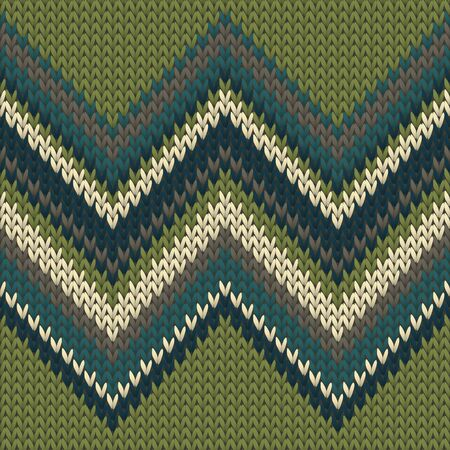 Handicraft zig zal lines knitting texture geometric seamless pattern. Rug knit effect ornament. Nordic style seamless knitted pattern. Winter holidays wallpaper.
