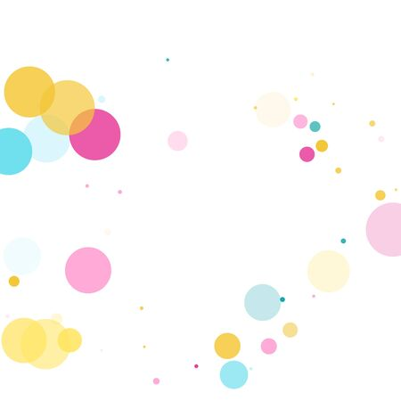Memphis round confetti carnival background in blue, magenta and yellow on white.  Childish pattern vector, children's party birthday celebration background.  Holiday confetti circles in memphis style.