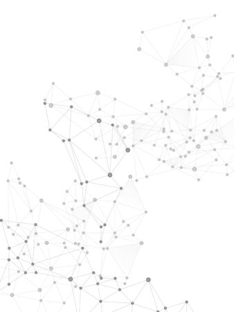 Block chain global network technology concept. Network nodes greyscale plexus background. Global data exchange blockchain vector. Circle nodes and line elements. Wireframe minimal design.