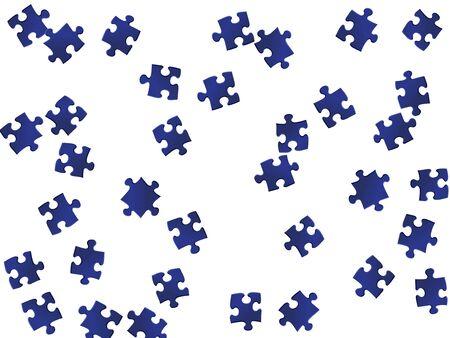 Business tickler jigsaw puzzle parti blu scuro illustrazione vettoriale. Gruppo di pezzi di puzzle isolati su bianco. Concetto astratto di risoluzione dei problemi. Plugin con gradiente di puzzle.