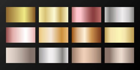 Silver, platinum, bronze, pink gold vector metallic gradients. Badges set. Foil chrome, alloy, aluminum, titanium, copper, silver, yellow and pink gold, platinum, steel, bronze background swatches.
