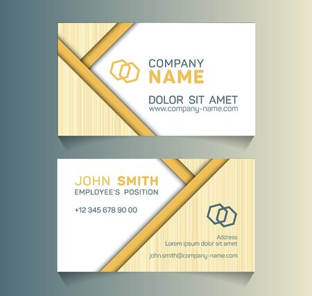 Geometric business card minimal idea vector templates set. Cool business card graphic design with place for company name, employees position, phone number, website and office address.