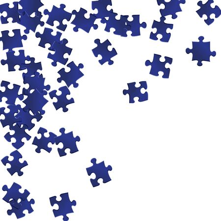Abstract brainteaser jigsaw puzzle dark blue pieces vector background. Group of puzzle pieces isolated on white. Strategy abstract concept. Jigsaw gradient plugins.  イラスト・ベクター素材