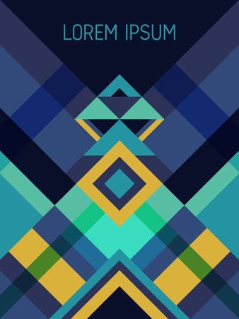 Checkered cover page layout vector template geometric design with triangles and stripes pattern. Folklore brazil motifs. Striped bauhaus pattern vector cover design. Cool geometry. Фото со стока - 131278519