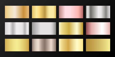 Metallic gradients vector set in golden, silver, platinum. Shiny chrome rose gold bronze background swatches.