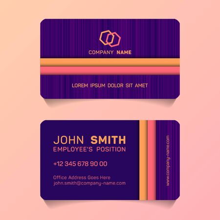 Double sided business card papercut idea vector templates set. Flat business card graphic design with place for employees name, position, mobile number, website and company office address. Illustration