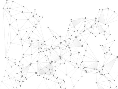 Big data cloud scientific concept. Network nodes greyscale plexus background. Tech vector big data visualization cloud structure. DNA helix strand, molecule. Interlinkes nodes cells random grid.