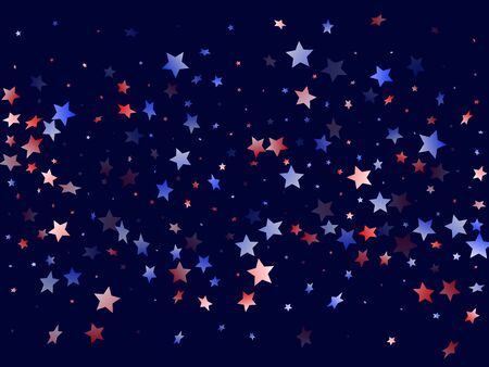 American Patriot Day stars background. Holiday confetti in US flag colors for President Day.  Bright red blue white stars on dark American patriotic vector. 4th of July holiday stardust.