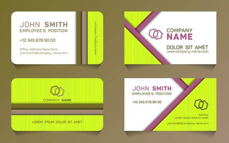 Double sided business card minimal idea vector templates set. Trendy business card graphic design with place for employees name, position, mobile number, website and company office address. Illustration