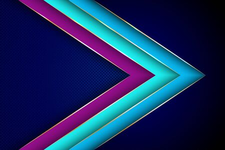 Polygonal arrow with gold triangle edge lines banner vector design. Royal banner background template. 3d advertising graphic design. Multi layers paper cut material design. Banque d'images - 131278537