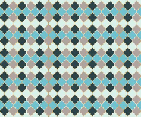 Arabian Mosque Window Vector Seamless Pattern. Ramadan mubarak muslim background. Traditional ramadan mosque pattern in gold grid borders. Chic islamic window grid design of lantern shapes tiles. Stock Illustratie