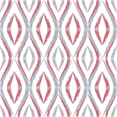 Ikat ogee seamless vector pattern design. Ethnic fabric print geometric ikat pattern. Minimal ogee seamless repeating background. Tribal motifs ikat textile print design. Fashionable ornament.