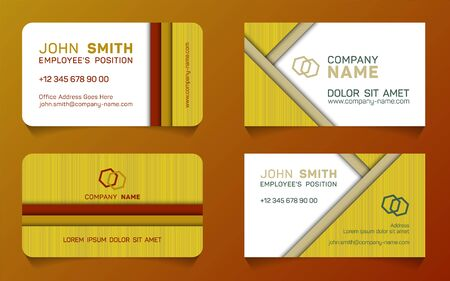 Double sided business card minimal idea vector templates set. Creative business card graphic design with place for company name, employees position, phone number, website and office address.