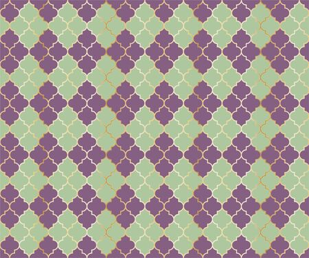 Moroccan Mosque Vector Seamless Pattern. Argyle rhombus muslim fabric background. Traditional ramadan pattern with gold grid. Rich islamic argyle seamless design of lantern lattice shape tiles. Çizim