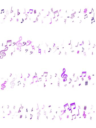 Violet flying musical notes isolated on white backdrop. Purple musical notation symphony signs, notes for sound and tune music. Vector symbols for melody recording, prints and back layers.