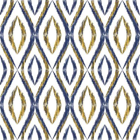 Ikat ogee seamless vector pattern illustration. Ethnic fabric print geometric ikat pattern. Minimal ogee seamless repeating background. Tribal motifs ikat textile print design. Aztec ornament. 向量圖像