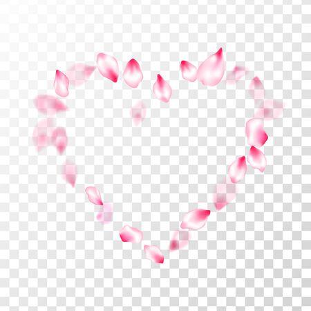 Pink sakura petals confetti flying and falling on transparent background. Springtime symbols. Pastel pink blossom petals floral design. Flower blossom parts romantic love vector pattern. Stock Illustratie