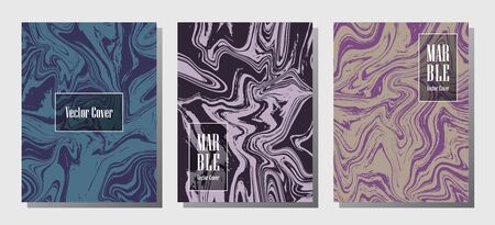 Glitch marble prints, vector cover design templates. Fluid marble stone texture iInteriors fashion magazine backgrounds  Corporate journal patterns set of liquid ink waves. Report covers.