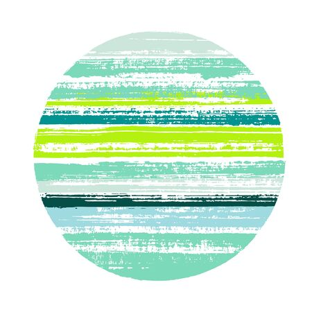 Circle vector geometric shape with striped texture of ink horizontal lines. Planet concept with old paint texture. Emblem round shape circle element with grunge background of stripes.