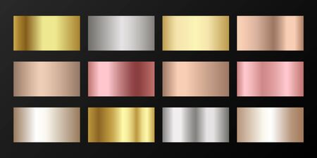 Metallic gradients vector set: golden, silver, platinum, bronze, pink gold. Bright elements of gold, bronze and silver gradients for award medals or coins design.
