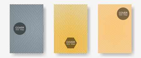 Halftone flat patterns abstract vector set. Liner faded gradation. Halftone lines annual report templates. Trendy magazines. Geometric covers of lines gradient flat patterns.