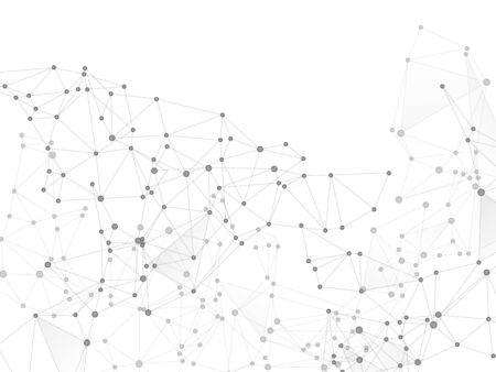 Big data cloud scientific concept. Network nodes greyscale plexus background. Future perspective backdrop. Tech vector big data visualization cloud structure. Interlinkes nodes cells random grid.