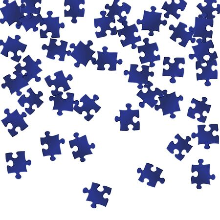 Abstract mind-breaker jigsaw puzzle dark blue pieces vector background. Top view of puzzle pieces isolated on white. Success abstract concept. Connection elements.