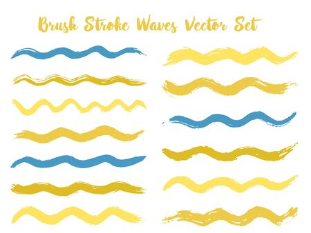 Hipster brush stroke waves vector set. Hand drawn gold blue brushstrokes, ink splashes, watercolor splats, hand painted curls. Interior colors guide book samples. Summer design paint brush curves.  イラスト・ベクター素材